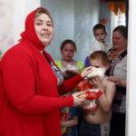 Репортаж о помощи многодетным семьям и малоимущим продуктами